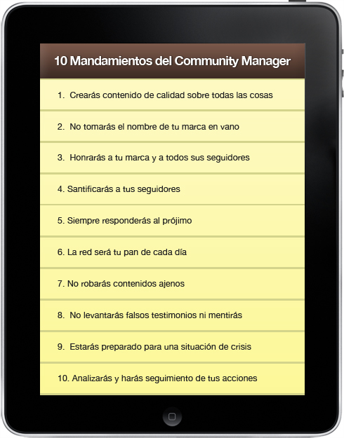 mandamientos community manager