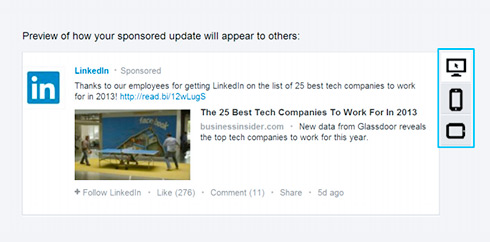 sponsored updates linkedin