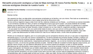 captura de email de Cristobal