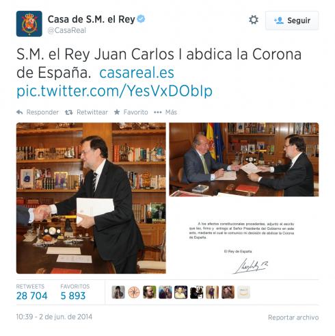 Tuit Casa Real 2 de junio